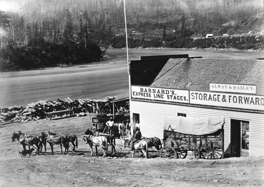 Mule Train at Yale starting for the Cariboo_1868