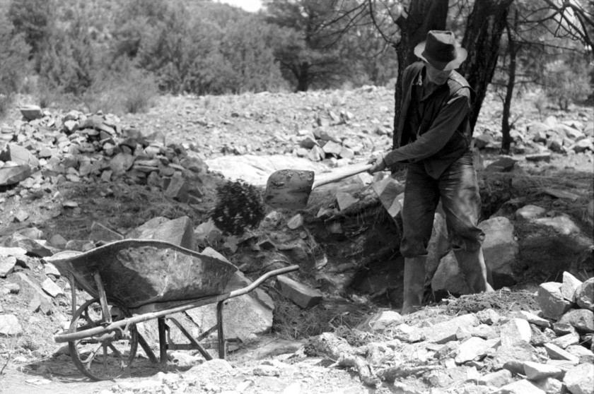 Gold prospector at his diggings_01A